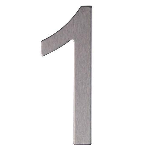 Número y letra de la calle, número de la puerta o número de la casa, de acero inoxidable Plata brillante, con soporte adhesivo, de 76 mm de altura (1)