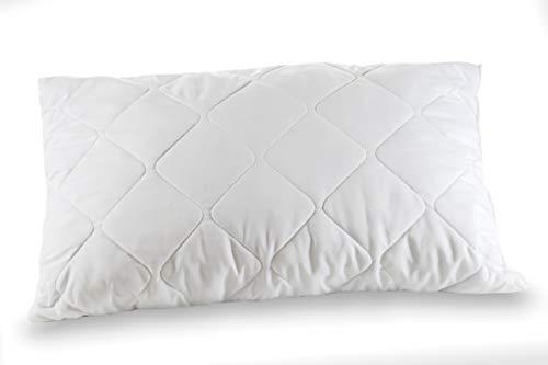 REDFLEX Cuscino 100% fiocco di memory, cuscino da letto, 42x72x15, elegante fodera trapuntata a filo