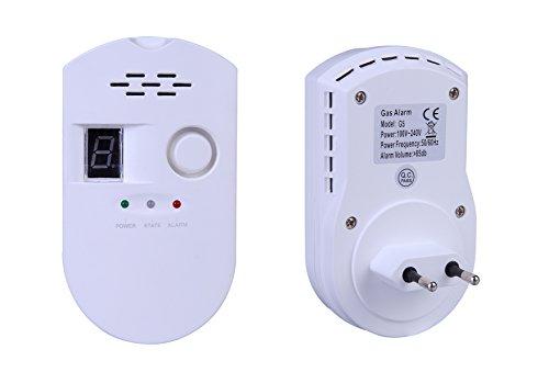 ZEYUN Detector de Gas, Alarma de Gas LPG Detector de Fugas de Gas Natural Sensor Enchufable Monitor de Gas con Alarma Sonora y Pantalla para Cocina de la casa Restaurante Hotel School Warehouse