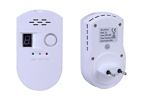 ZEYUN Gasmelder Brennbaren Haushalts Erdgas Flüssiggas Alarm, Erdgas, Plug-in Erdgasmelder mit Digitalanzeige, Für Haus Küche Restaurant Hotel Schule Lagerhaus