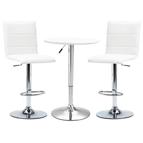 vidaXL 3 Piece Bar Set Pub Table and Chairs Bistro Furniture Counter Restaurant Kitchen Garden Faux Leather White