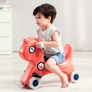 Hadwin Rocking Horse for Kids, Slide Balance Bike Interactive Horse Ride with Push Rod, Slide Bike and Baby Stroller for Boys and Girls, Safe Rocking and Ride Toy for 1 Y+