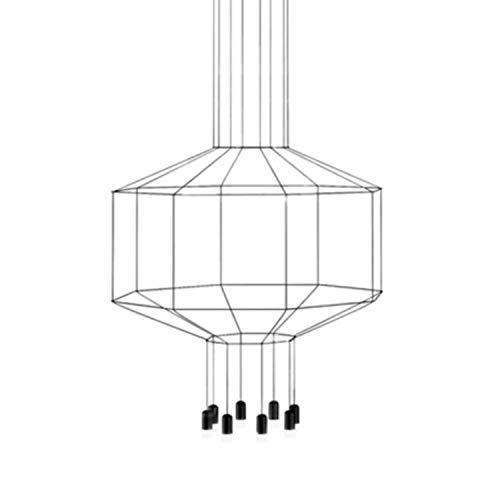 Lámpara colgante, 8 led 4, 48W, con difusor de vidrio prensado, serie Wireflow octagonal, color negro, 90 x 120 x 50 centímetros (referencia: 030004/1A)
