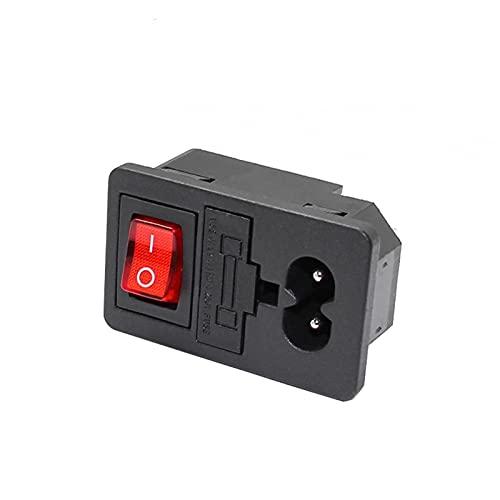 Interruptor basculante Nuevo Integral 250V 10A interruptor de rockero rojo fusionado IEC320 C14 Entrada de enchufe de la entrada Conector de interruptor de fusible 2pin Enchufe Conector Masculino