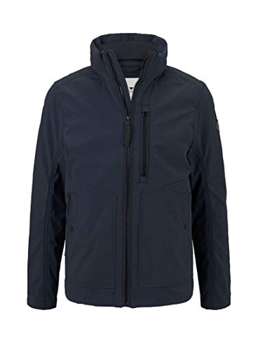 TOM TAILOR Herren Jacken & Jackets Softshell-Jacke mit einrollbarer Kapuze Sky Captain Blue,XL