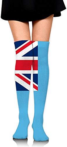 NCH UWDF Bandera de Las Islas Fiji Azul Mujer Chica Calcetines hasta el Muslo Calcetines Largos por Encima de la Rodilla