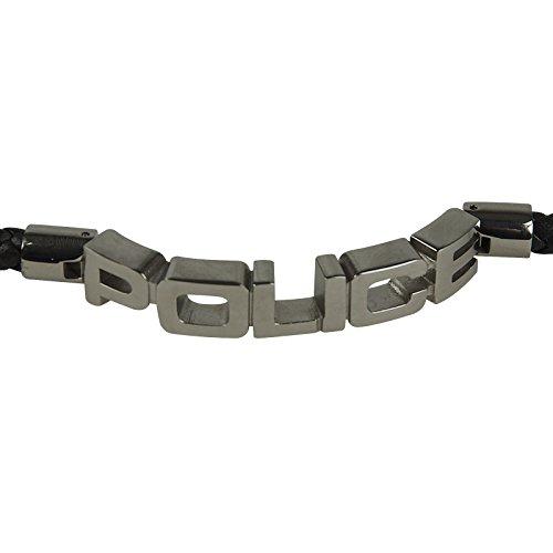 POLICE Leder Armband SIGNATURE Herren Schmuck Edelstahl Schwarz PJ23873BLB.01-L