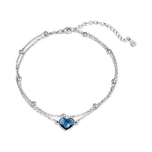 Love Heart Ankle Bracelet for Women, 925 Sterling Silver Ball Charm Adjustable Anklet 9''+2''