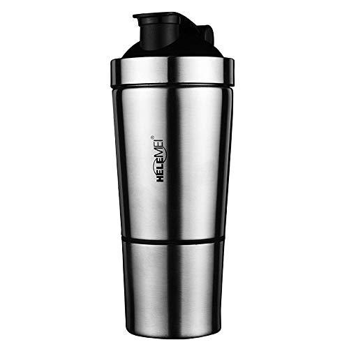 HJKKLL Stainless Steel Protein Powder Shaker Bottle Fitness Mixer Cup|Protein Powder Shaker Bottle Bottom Storage Tank Design 500Ml