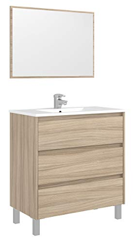 Miroytengo Mueble baño con Espejo 3 cajones Mueble Aseo Lavabo Moderno Color Nature Cierre Progresivo 80X45X86 cm NO Incluye LAVAMANOS