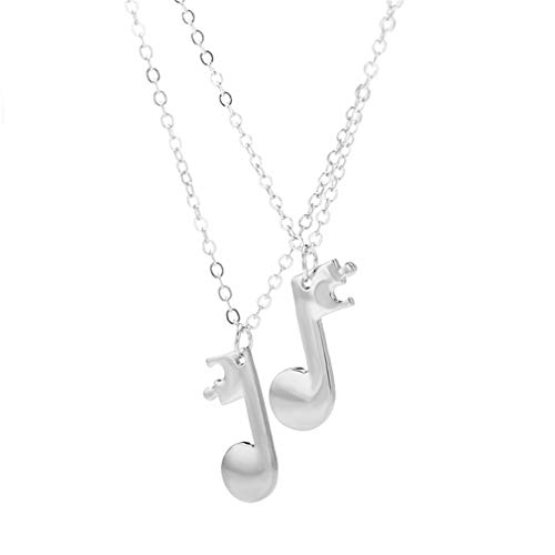 MOONRING Juego de 2 collares con colgante de nota musical, para parejas, accesorios para mejor amigo.