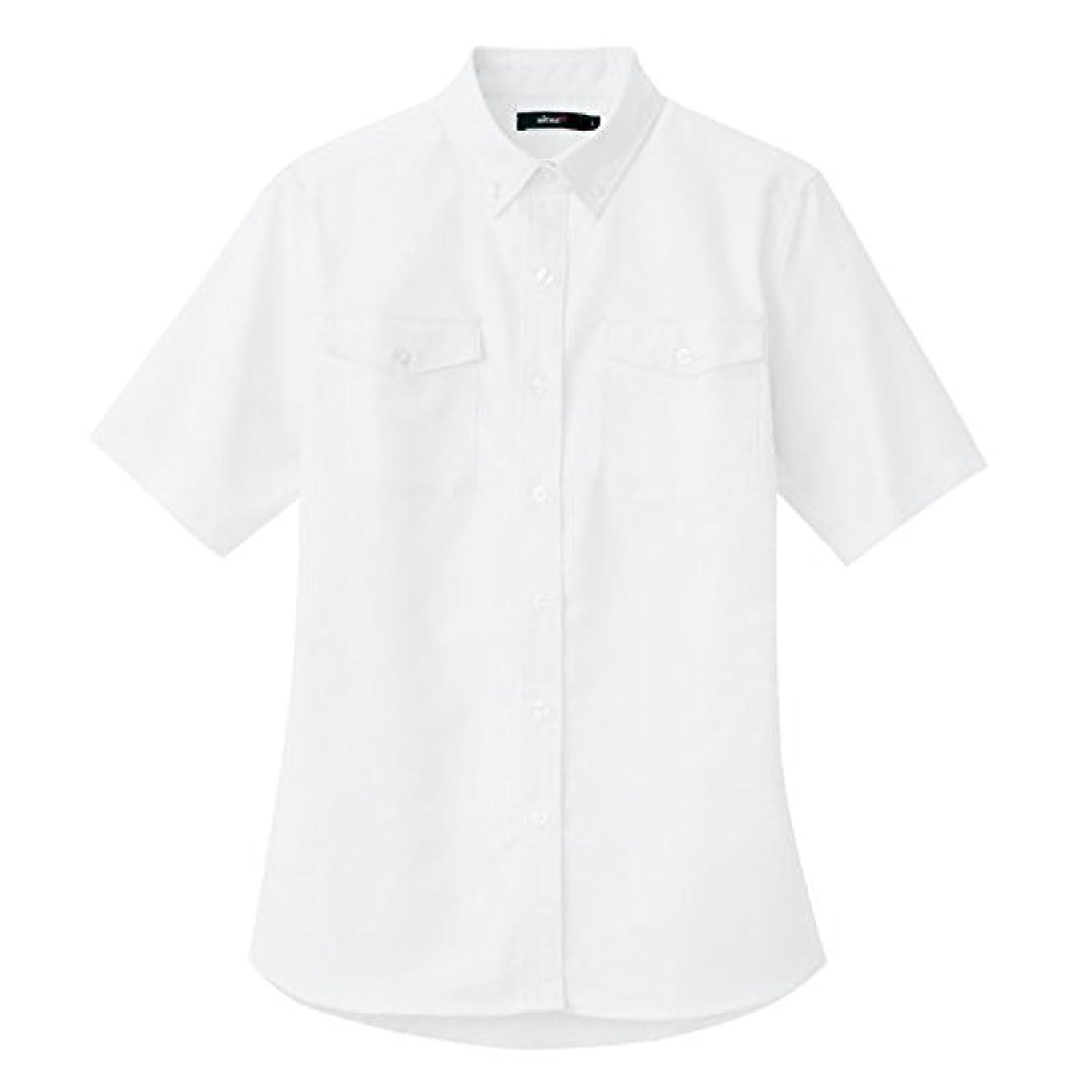 AITOZ アイトス レディース半袖オックスボタンダウンシャツ (春夏用) AZ7879 001 ホワイト L