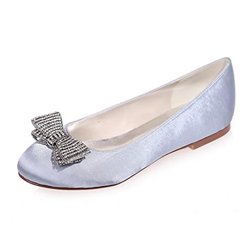 NYPB Mujer Zapatos de Boda Punta Cerrada Sandalias de Corte Planos Satén...