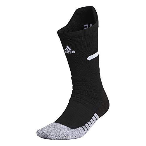 adidas Unisex Adizero Fußball-Socken, gepolstert, Crew-Socken (1 Paar), Unisex, Crew Sock-Team, 978417, schwarz / weiß, Large