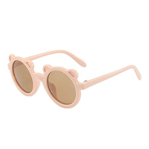 SunniMix Nueva Forma de Oso de Dibujos Animados Marco pequeño Gafas de Sol de Moda para niños niñas Regalo Playa Fiesta al Aire Libre UV400 - Rosa
