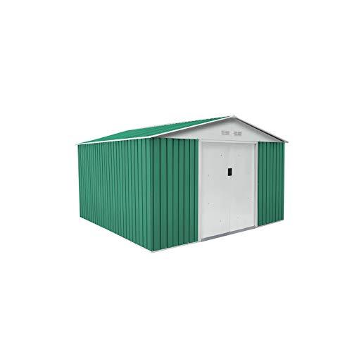 GARDIUN KIS12993 - Caseta Metálica Coventry 9,66 m² Exterior 301x321x205 cm Acero Galvanizado Verde