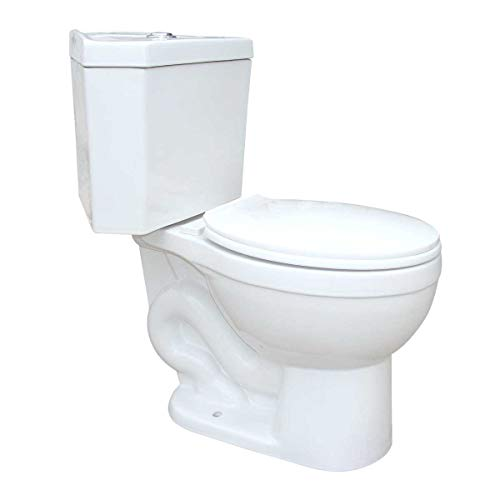 Troyt Compact Corner Bathroom Toilet 2-Piece Round - 0.8/1.6 GPF High Low Top Tank Button Flush WATERSENSE - ADA Heavy Duty Porcelain Includes Slow Close Toilet Seat Renovators Supply Manufacturing