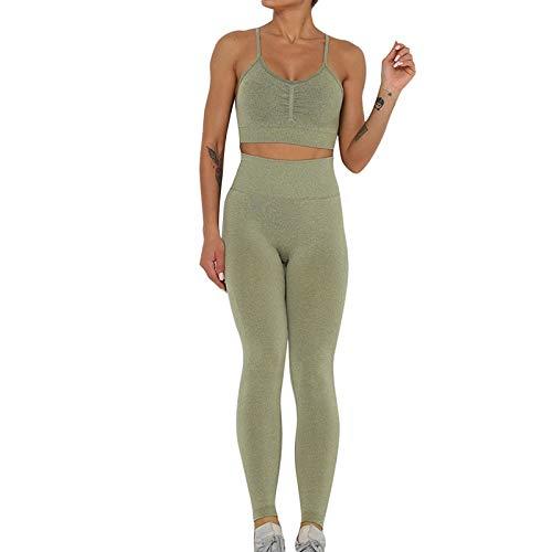 YEESEU Mujeres Sólido Color Dos Piezas Set Sports Skinny Leggings Deporte Sujetador Set Yoga Set Gimnasio Fitness Pantalones Hip Levantamiento Ropa Deportiva (Color : 5, Size : S)