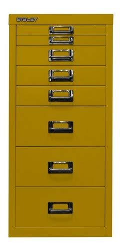 BISLEY MultiDrawer, 29er Serie, DIN A4, 8 Schubladen, Metall, 641 Zinkgelb, 38 x 27.9 x 59 cm