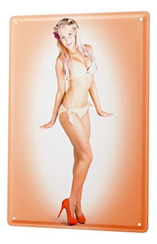 LEotiE SINCE 2004 Blechschild Wandschild 30x40 cm Vintage Retro Metallschild Sexy Girl Blondine Bikini
