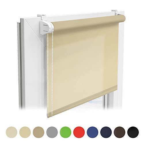 casa pura® Sichtschutzrollo - lichtdurchlässiges Rollo als Sichtschutz am Fenster - Fensterrollo in vielen Größen und Farben | Creme | 60x150cm