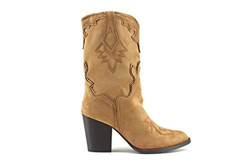 Modelisa - Botas Cowboy Tacón Ancho para Mujer (Camel, Numeric_40)