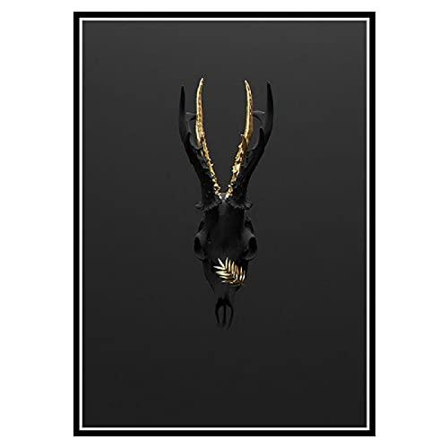 Kying Leinwand Malerei Moderne kreative Schwarzgold Handmaske Charakter Geweih Poster und Drucke Wandkunst Bilder für Schlafzimmer Dekor-50x75CM Rahmenlos