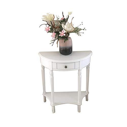 LIANG Mesa auxiliar para pasillo, mesa auxiliar de madera, con cajón (color 02)