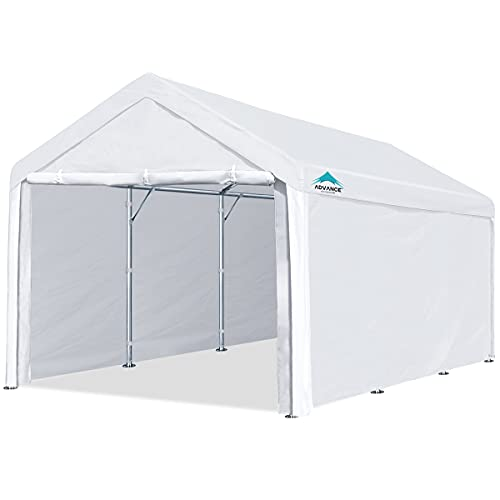 ADVANCE OUTDOOR 10x20 ft Heavy Duty Carport Car Canopy Garage Shelter Boat Party Tent Shed with Removable Sidewalls and Doors, White