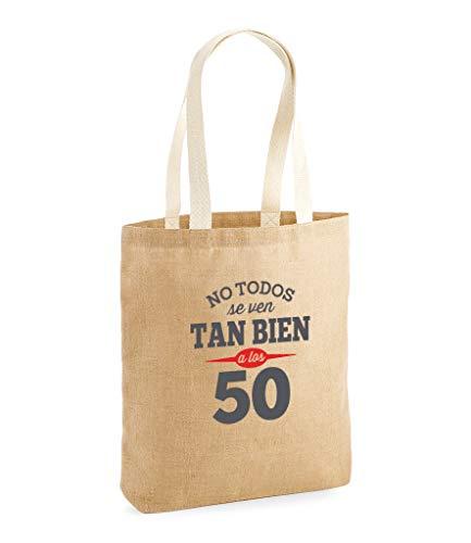 Design, Invent, Print! Bolsa de Yute de 50 cumpleaños - para Mujer - como Regalo, Recuerdo o para Hacer la Compra - Natural - 42 x 39.5 x 6 cm