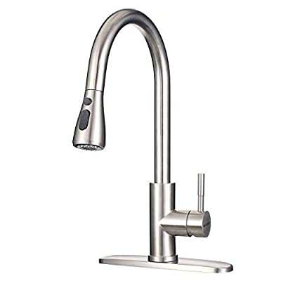 "Kitchen Faucet with Sprayer MSTJRY Kitchen Sink Faucet with Sprayer Stainless Steel Faucets for Kitchen Sinks Pull Down Kitchen Faucet Single Handle 16.5"""