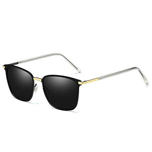 JOEYFAYE Gafas de Sol Polarizadas para Hombre, Gafas de Sol Retro de Moda, Gafas UV400, Montura de Metal
