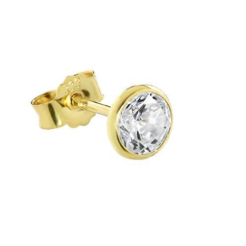 NKlaus orecchini singoli NKlaus oro puro 333 8 carati 5,5 mm zirconi donne uomini 0,81g 3753