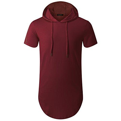 OLRIK Men's Hipster Hip Hop Longline T-shirt With Zipper Trim Wine Red XXL