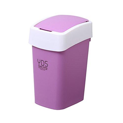 Bacs à ordures extérieurs luoliweiBoîtier carré central bascule créative couvercle poubelle accueil grande salle de bains salle de séjour 8L 19*31*14cm, violet