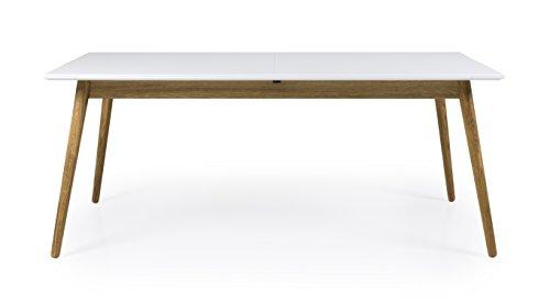Tenzo Dot Designer Table à Manger rectangulaire avec allonge Papillon, MDF Massif, Blanc/Chêne, 180 x 90 x 75 cm