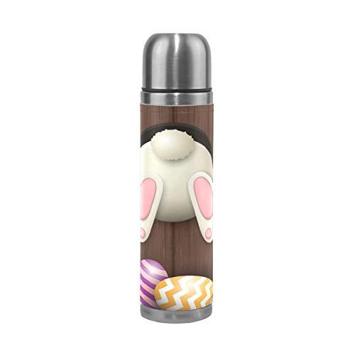 AEMAPE Felices Pascuas Lindo Conejo Flores Florales Huevos Aislados Frasco de vacío Taza Termo Botella para Agua Caliente Acero Inoxidable 500ml ^ A4