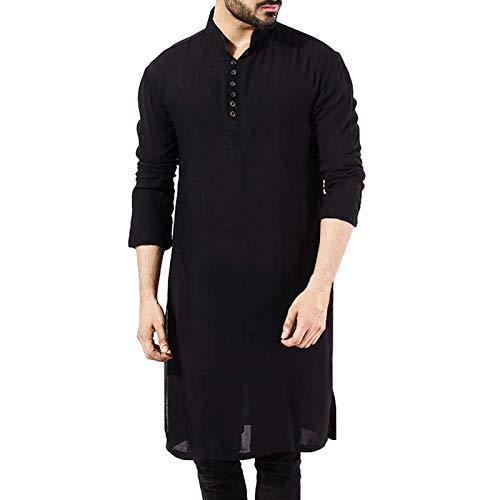 JYCDD Herren-Schlafmäntel, langärmelig, mit Knöpfen, Hauskleidung, gemütlicher Bademantel, atmungsaktiv, Freizeit-Nachthemd, Pyjama-Kleid, männlich, muslimisch, schwarz, Größe L