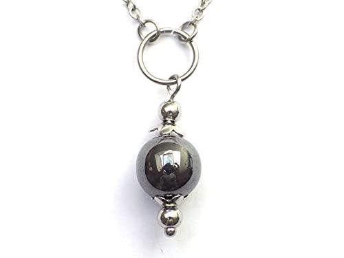 Collana girocollo da donna in acciaio inossidabile con anelli e perle di ematite nera