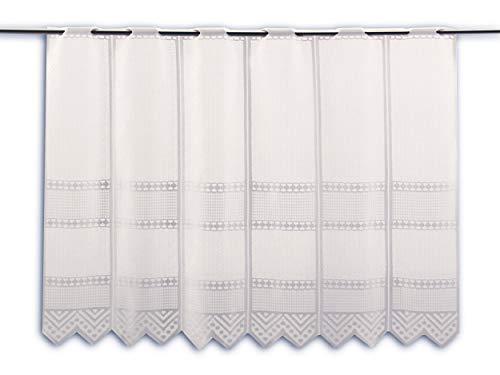 Albani Scheibengardine Jacquard weiß Höhe 30/45/60/90cm | Breite der Gardine frei wählbar in 13,5cm Schritten | Gardine | Panneaux (Höhe 60cm)