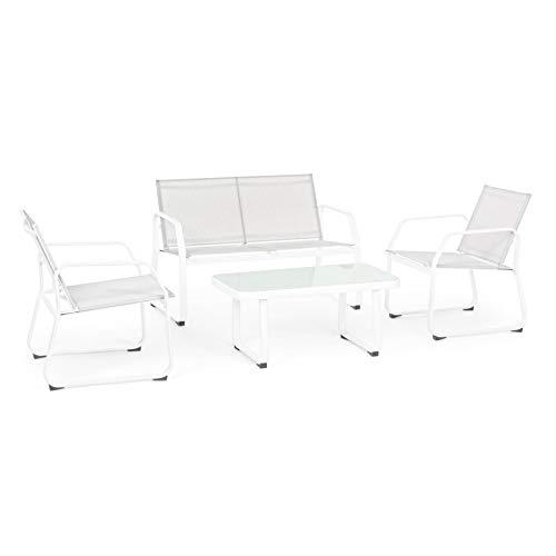 ARREDinITALY Set Salon pour extérieur Canapé + 2 fauteuils et Table Basse Blanc