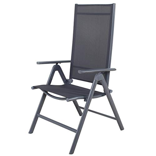 Chicreat Korfu Aluminium Folding Chair, Grey, 67 x 59 x 113cm