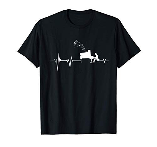 Piano Heartbeat - Pianist Classical Music Jazz Composer Gift T-Shirt