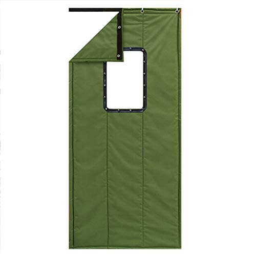 Winter Cotton Thicken Curtain-JINRONG Winter Thick Cotton Curtain - Household Commercial Soundproof Windproof Partition Thermal Insulated Cotton Curtain (Color : Green, Size : 80200cm)