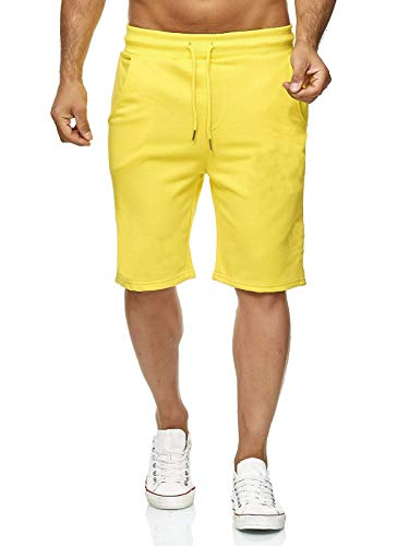 Hidyliu Mens Elastic Waist Drawstring Workout Joggers Shorts Summer Casual Sweat Short Pants with Pockets (Yellow Joggers Shorts, XL)