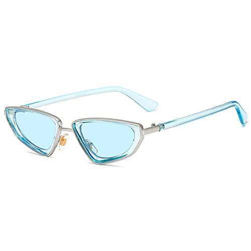Gafas de Sol Sunglasses Moda Mujer Ojo De Gato Gafas De Sol Diseñador Pequeño Marco Dorado Gafas Mujer Hombre Claro Azul Rosa Sombras Anteojos Uv400 C3BlueblueAnti-UV