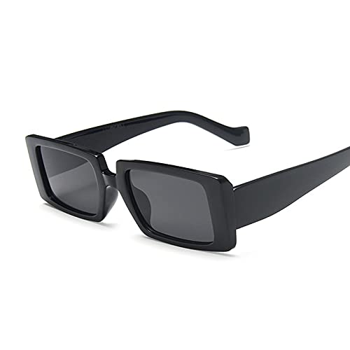 YUZHUKKKPYZ MJ - Gafas de sol para mujer, estilo retro, para mujer, color océano, espejo, rectángulo, color negro