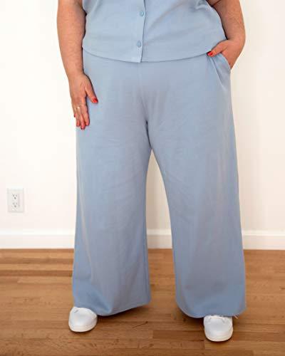 The Drop Women's Fog Blue Rib Wide-Leg Pull-On Pants by @itsmekellieb