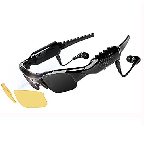 NewZexi Tragbare Bluetooth Sonnenbrille 1080p Kamera Brille Mini DV Videorekorder Gläser Bluetooth Kopfhörer Händefrei Fahrbrille Sportbrillen Radsport Sonnenbrille mit Austauschbar Nachtsicht Linsen