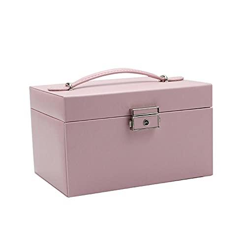 Rtlia Caja de joyería grande, caja de almacenamiento con cerradura de cuero PU, con espejo y caja de viaje portátil con 3 cajones, puede poner anillos, pendientes, collares, pulseras, relojes-Rosa